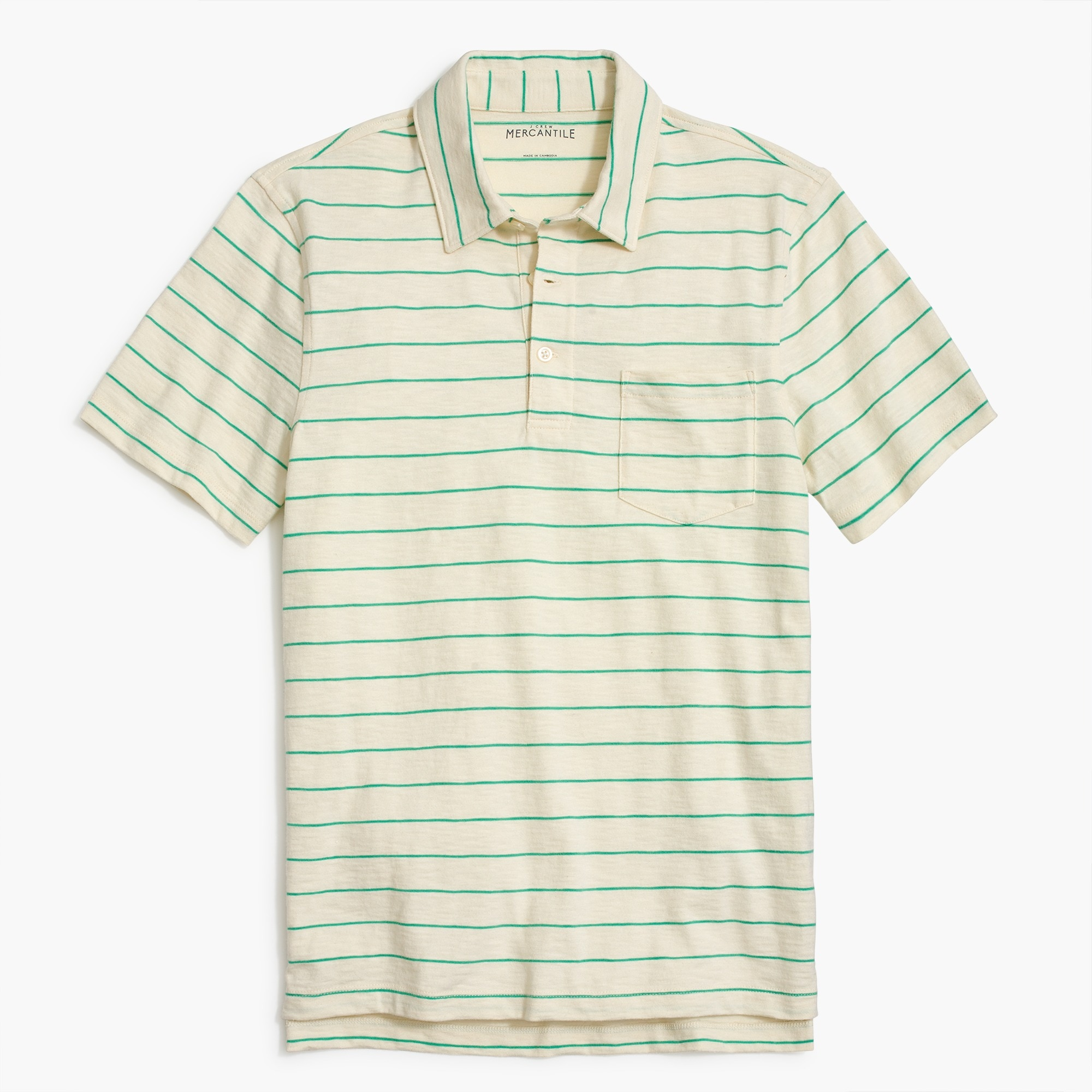 Image 2 for Striped short-sleeve polo shirt in slub cotton