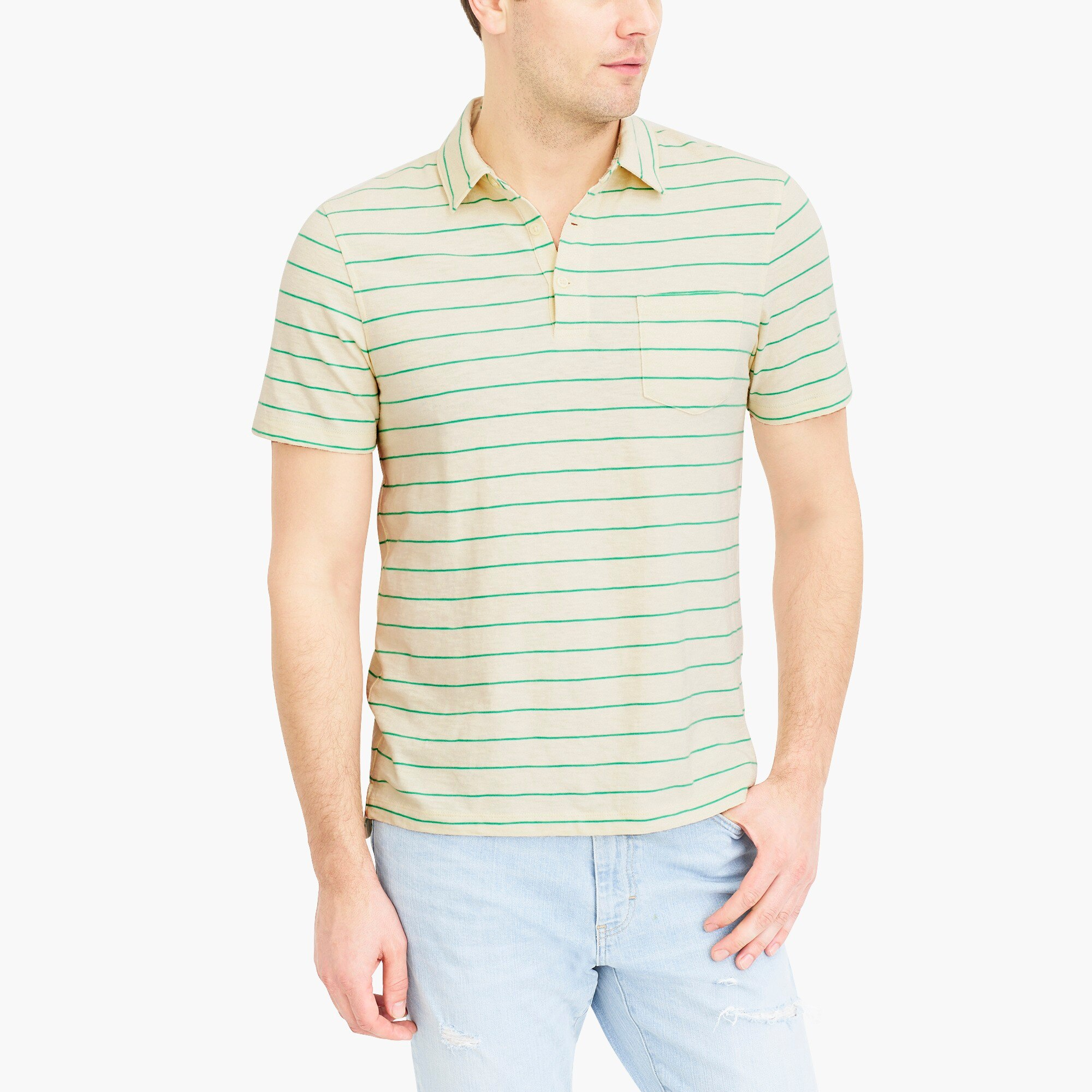striped short-sleeve polo shirt in slub cotton : factorymen the score: men's tech shorts and performance polos