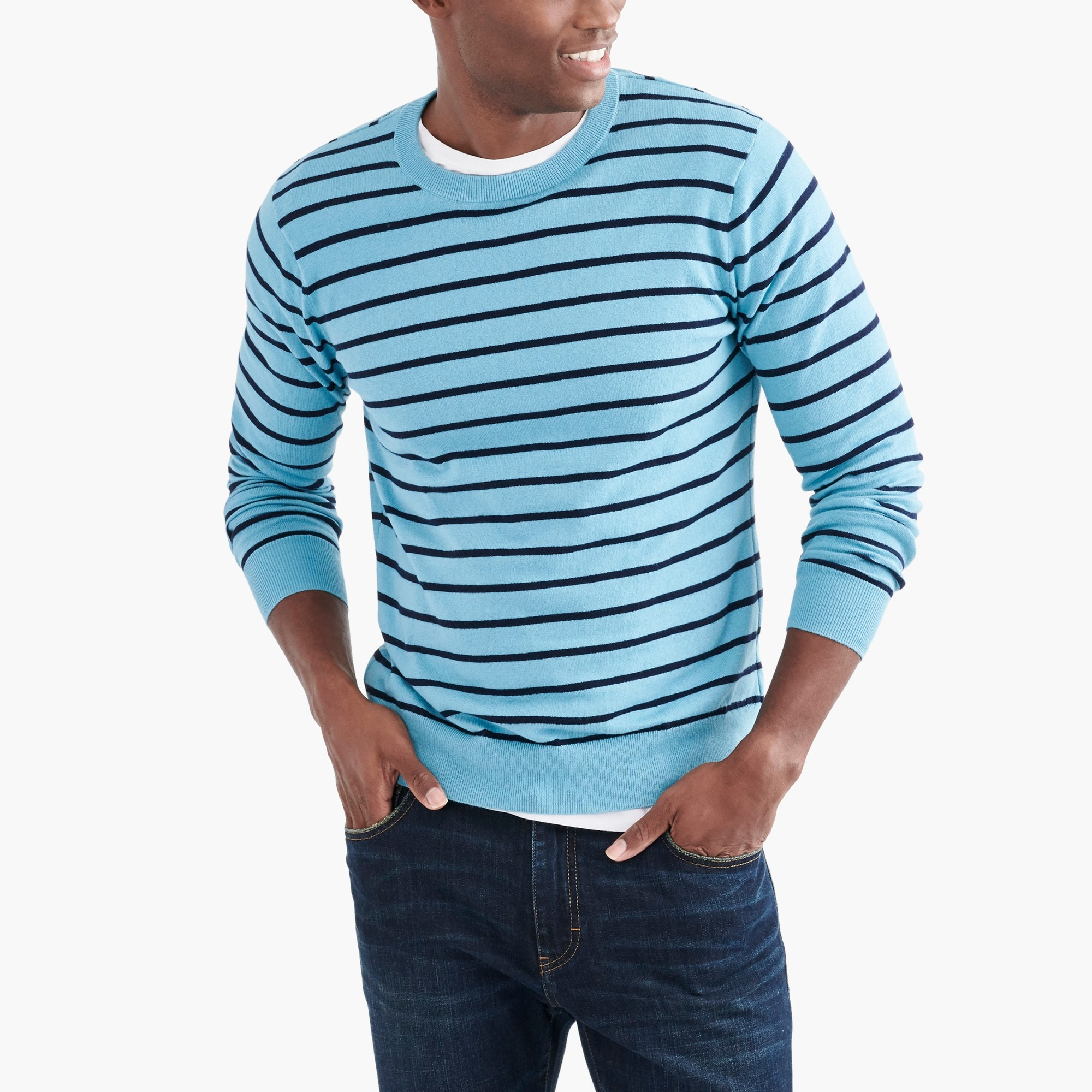 factory mens Striped crewneck sweater in cotton