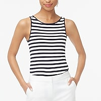 Striped open-neck cami top
