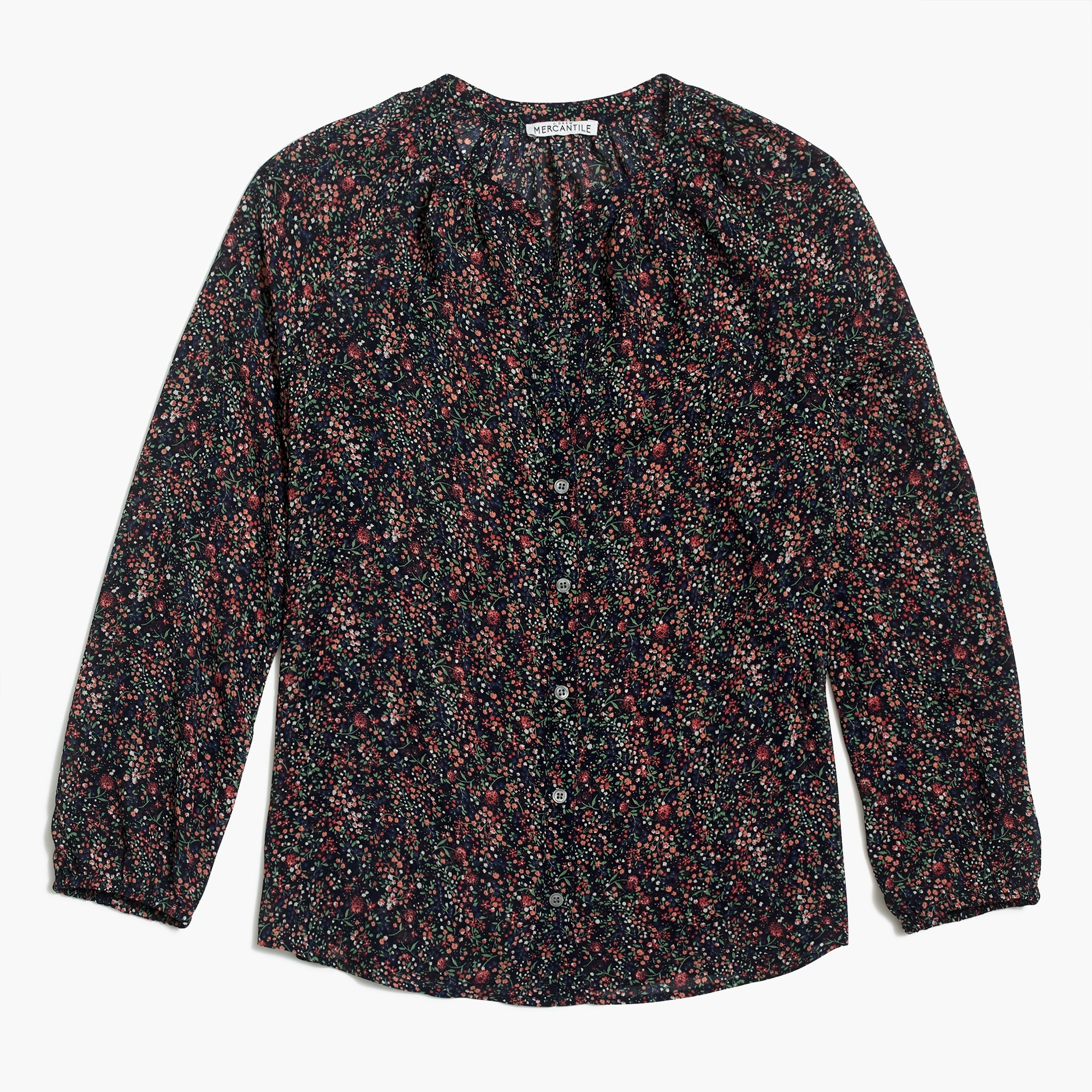 Printed V-neck three-quarter sleeve top