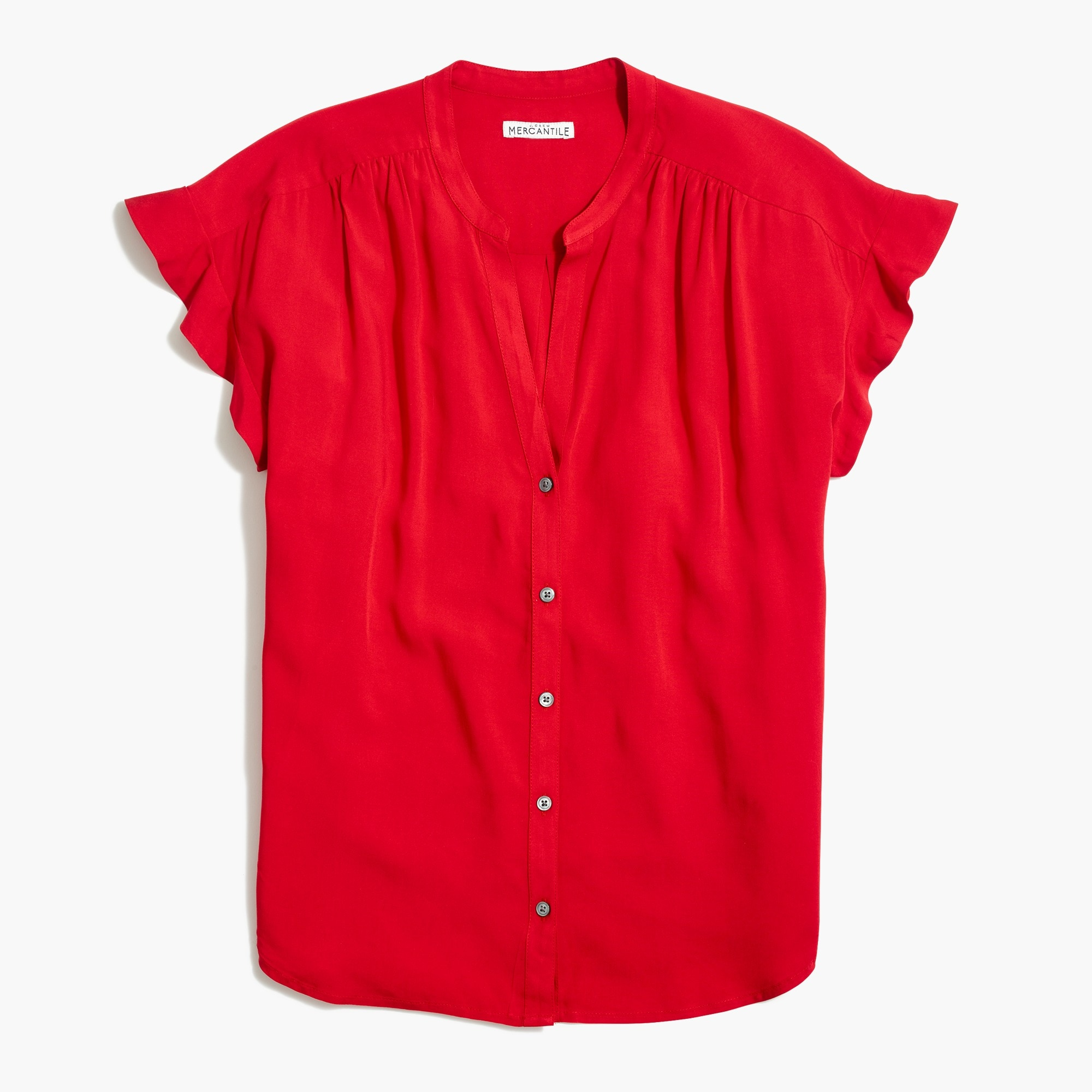 Image 2 for Ruffle-sleeve camp shirt