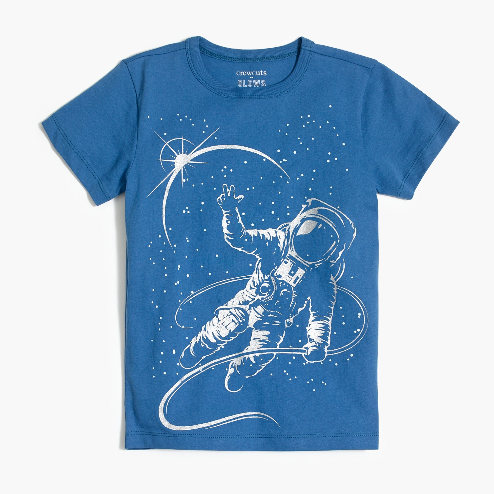 Image 1 for Boys' glow-in-the-dark astronaut graphic T-shirt