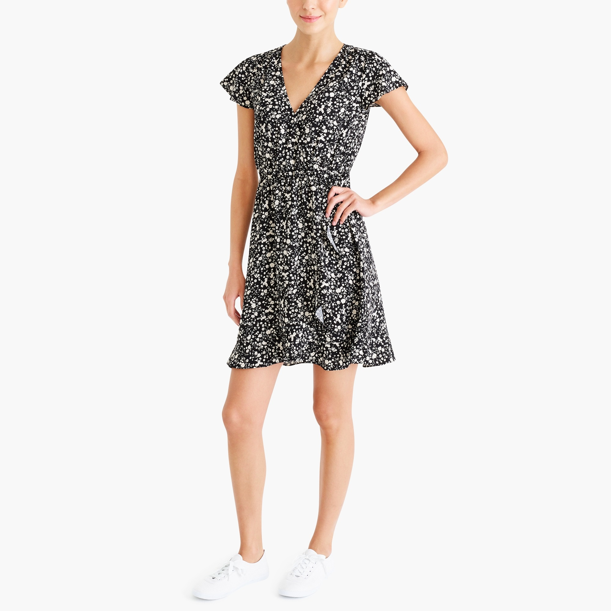 Printed ruffle faux-wrap dress