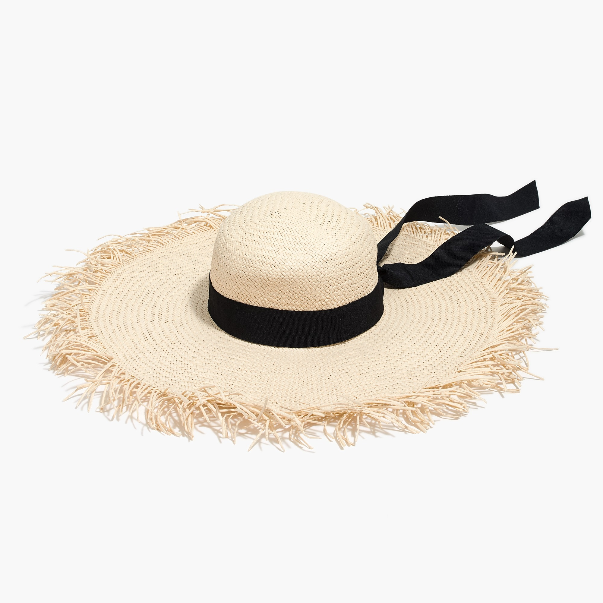 Raw-edge straw hat