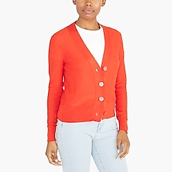 V-neck slub cotton cardigan