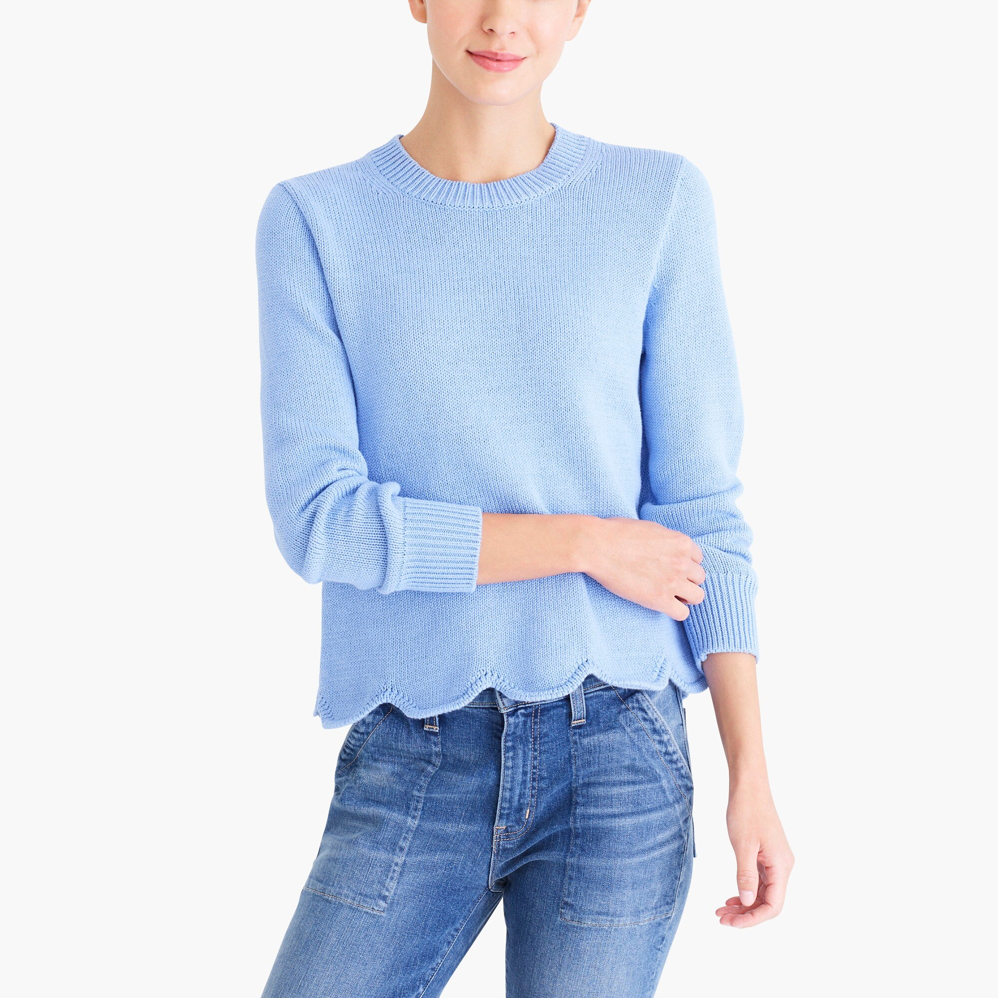 factory womens Scalloped hem sweater
