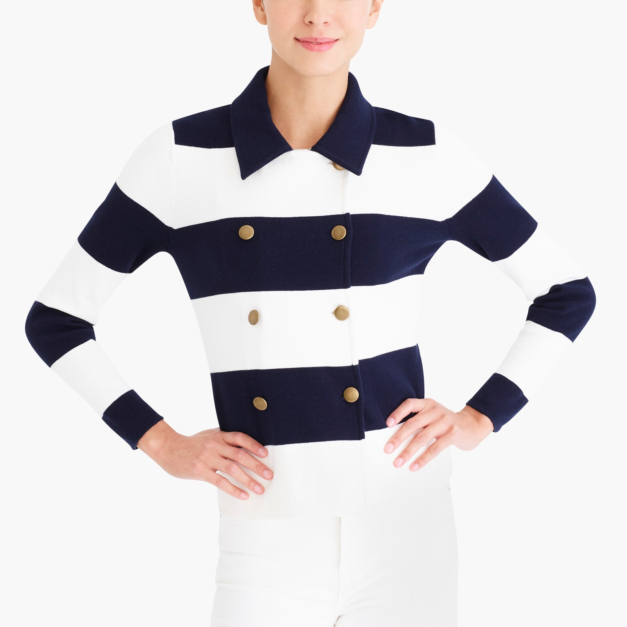factory womens Double-breasted sweater-blazer in stripe