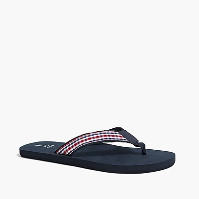factory mens Madras flip-flops