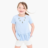 Girls' ruffle-back peplum T-shirt