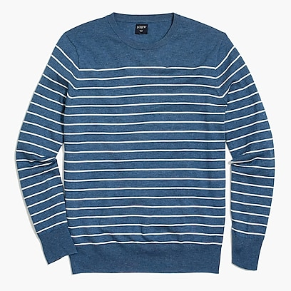 Cotton-linen crewneck sweater in stripe