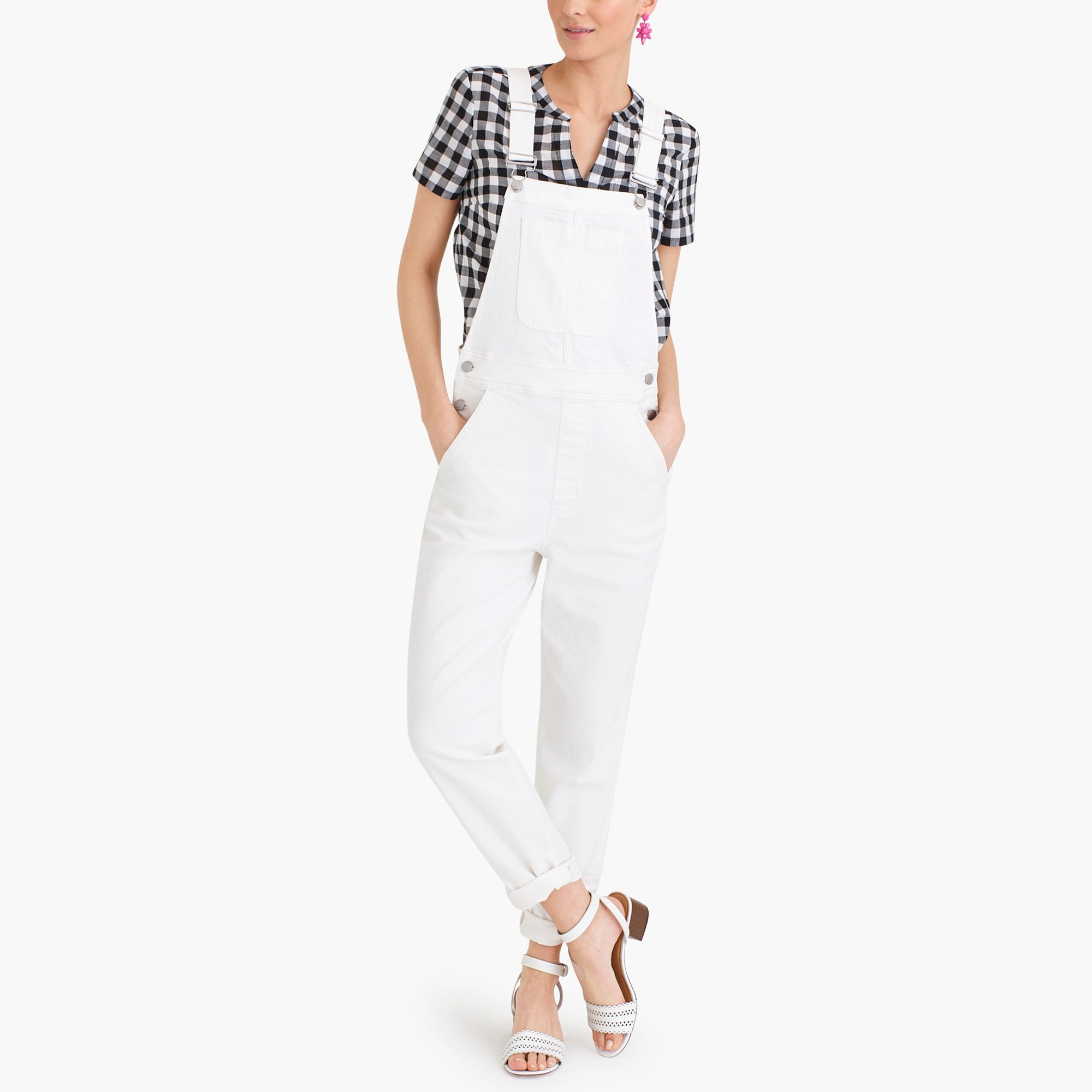 factory womens White denim overall