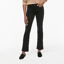 "9"" high-rise flare crop jean in black denim"