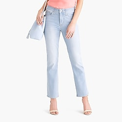"9"" high-rise flare crop jean in bleach wash"