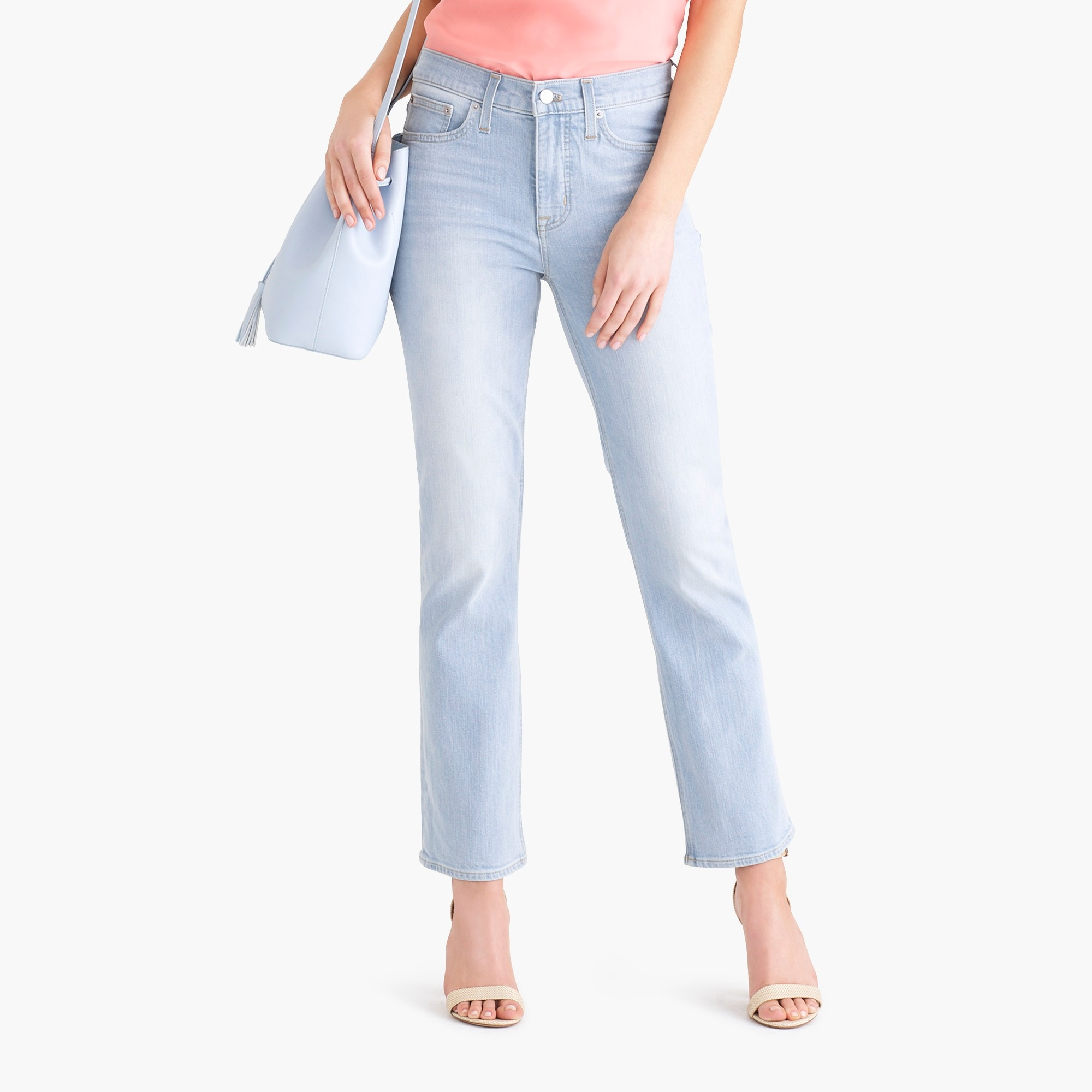"factory womens 9"" high-rise flare crop jean in bleach wash"