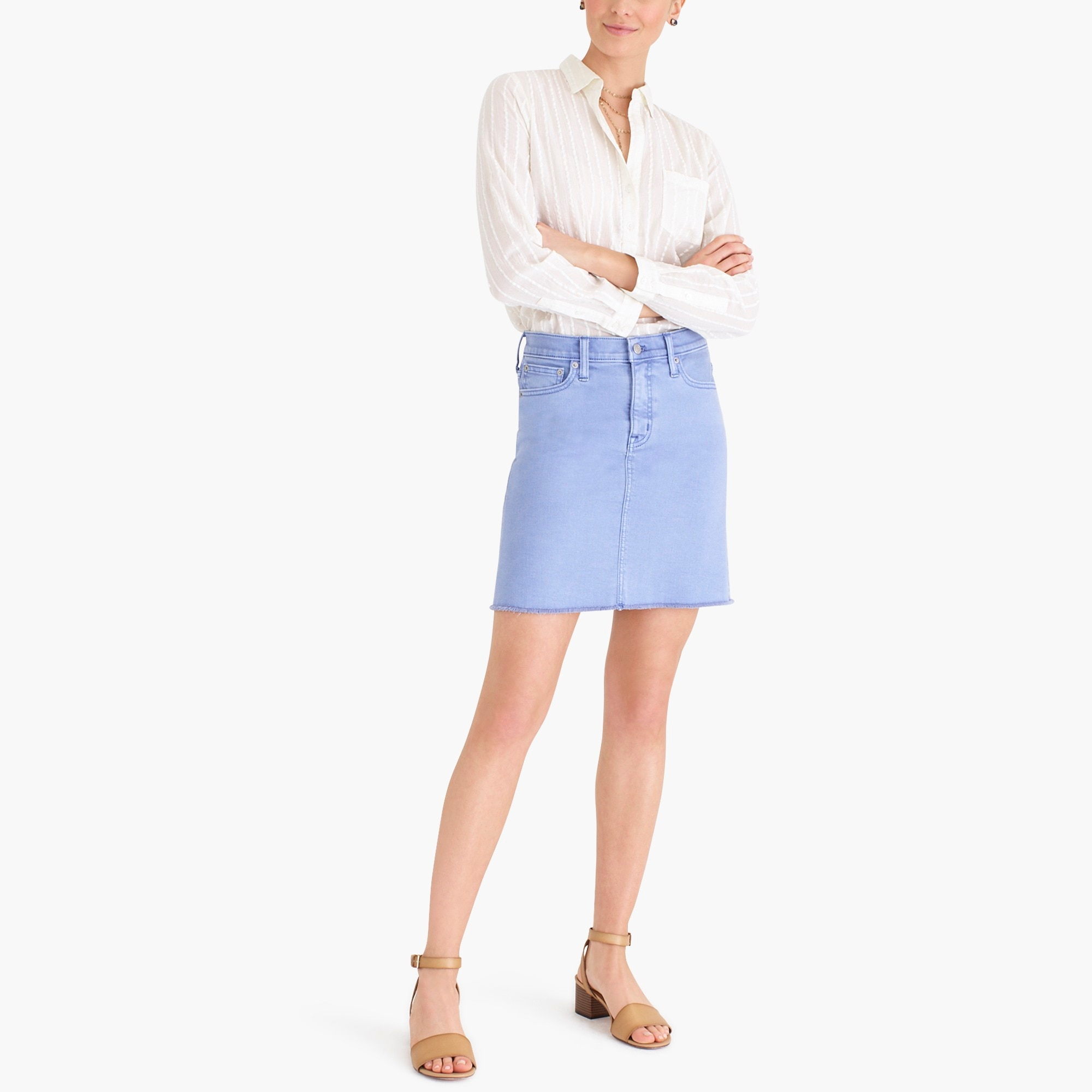 factory womens Garment-dyed raw edge denim mini skirt