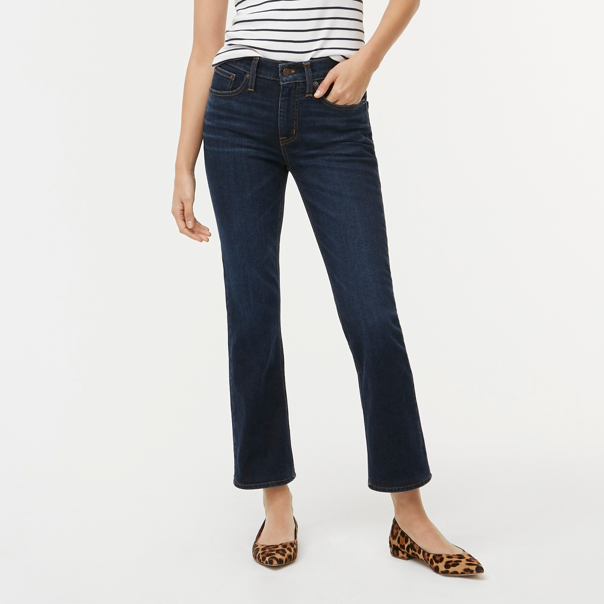"factory womens 9"" high-rise flare crop jean in dark wash"