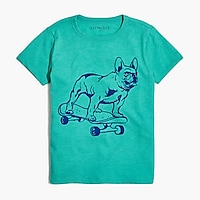Boys' skateboarding dog graphic T-shirt