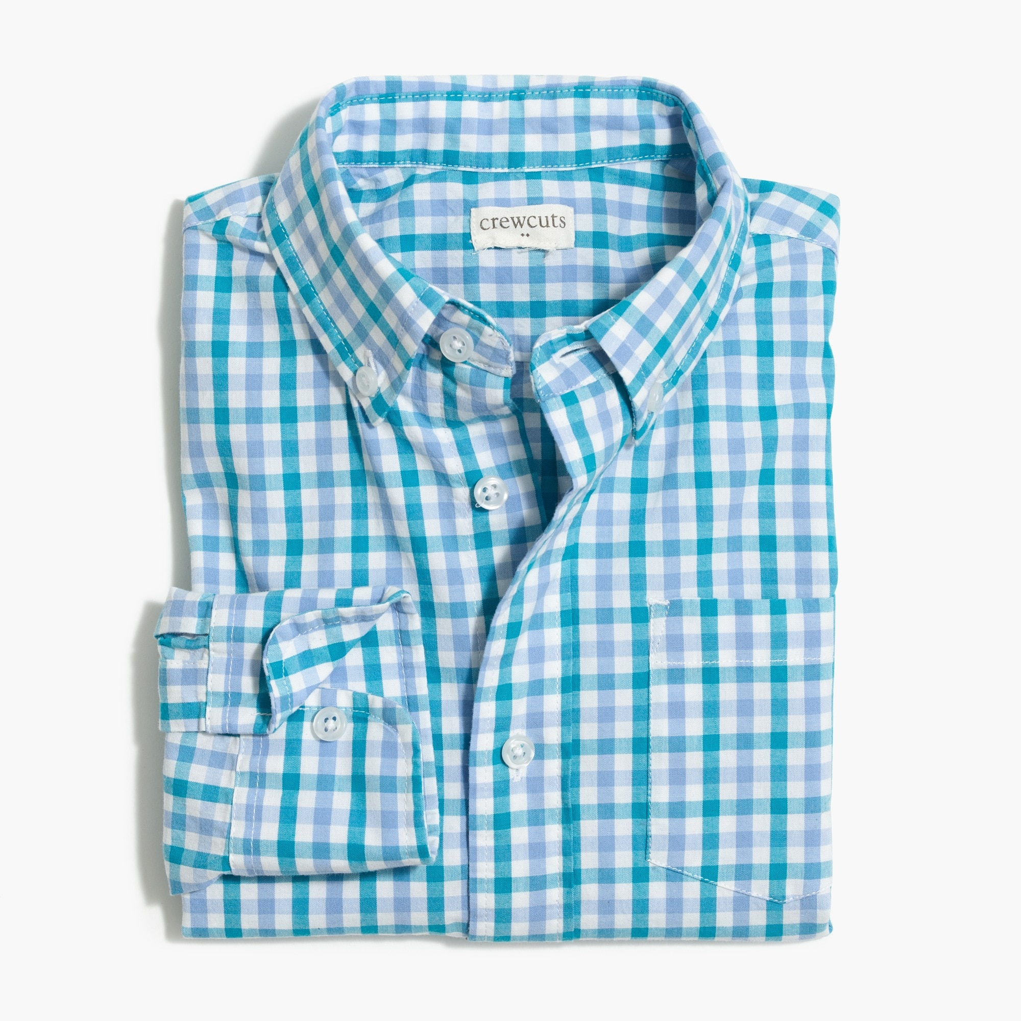 j.crew factory: boys' long-sleeve flex washed shirt in print