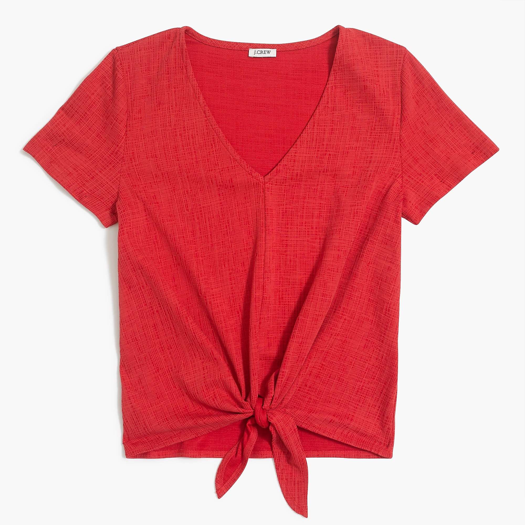 Textured V Neck Tie Front T Shirt by J.Crew