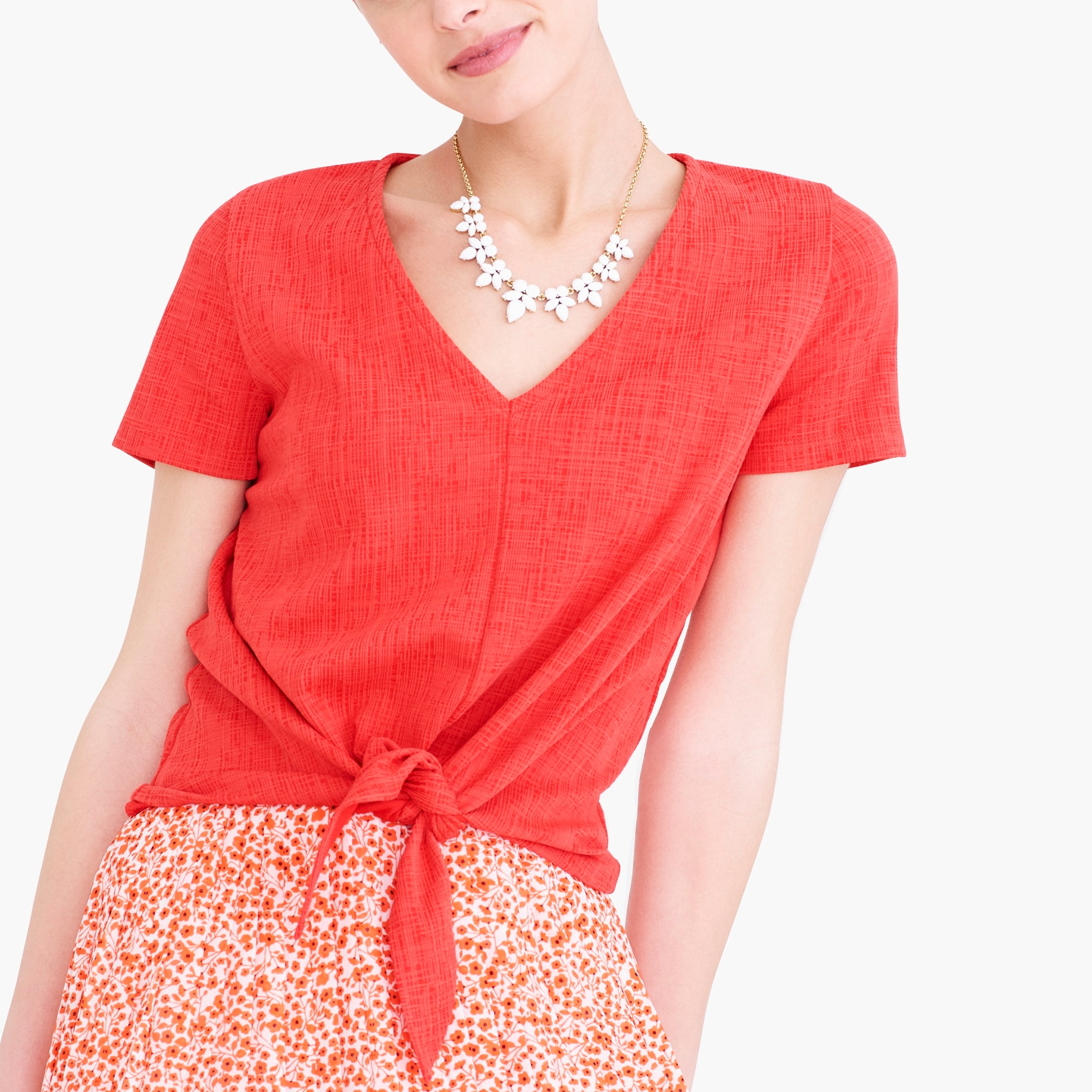 j.crew factory: textured v-neck tie-front t-shirt