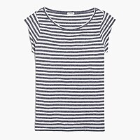 Striped linen-blend ballet T-shirt