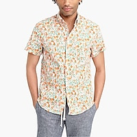 Image 1 for Floral printed slim flex casual short sleeve shirt