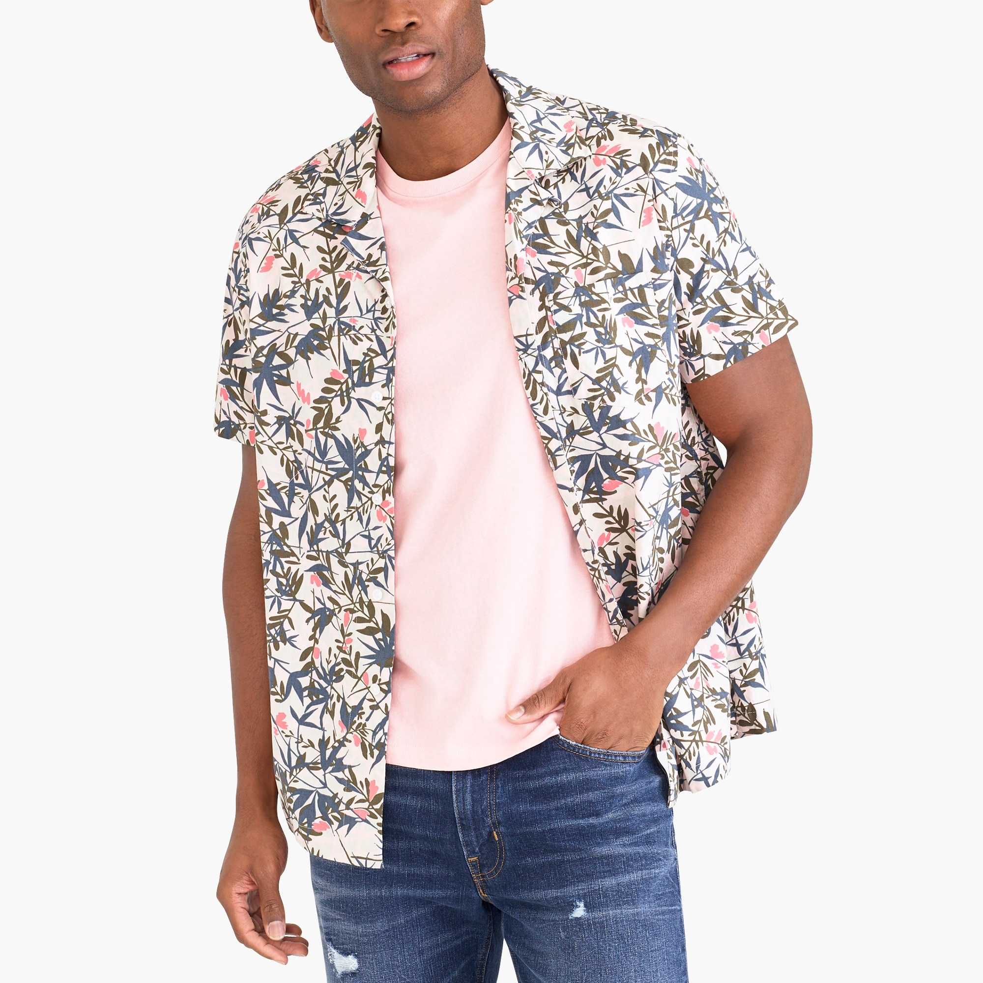 Image 1 for Printed camp collar casual shirt