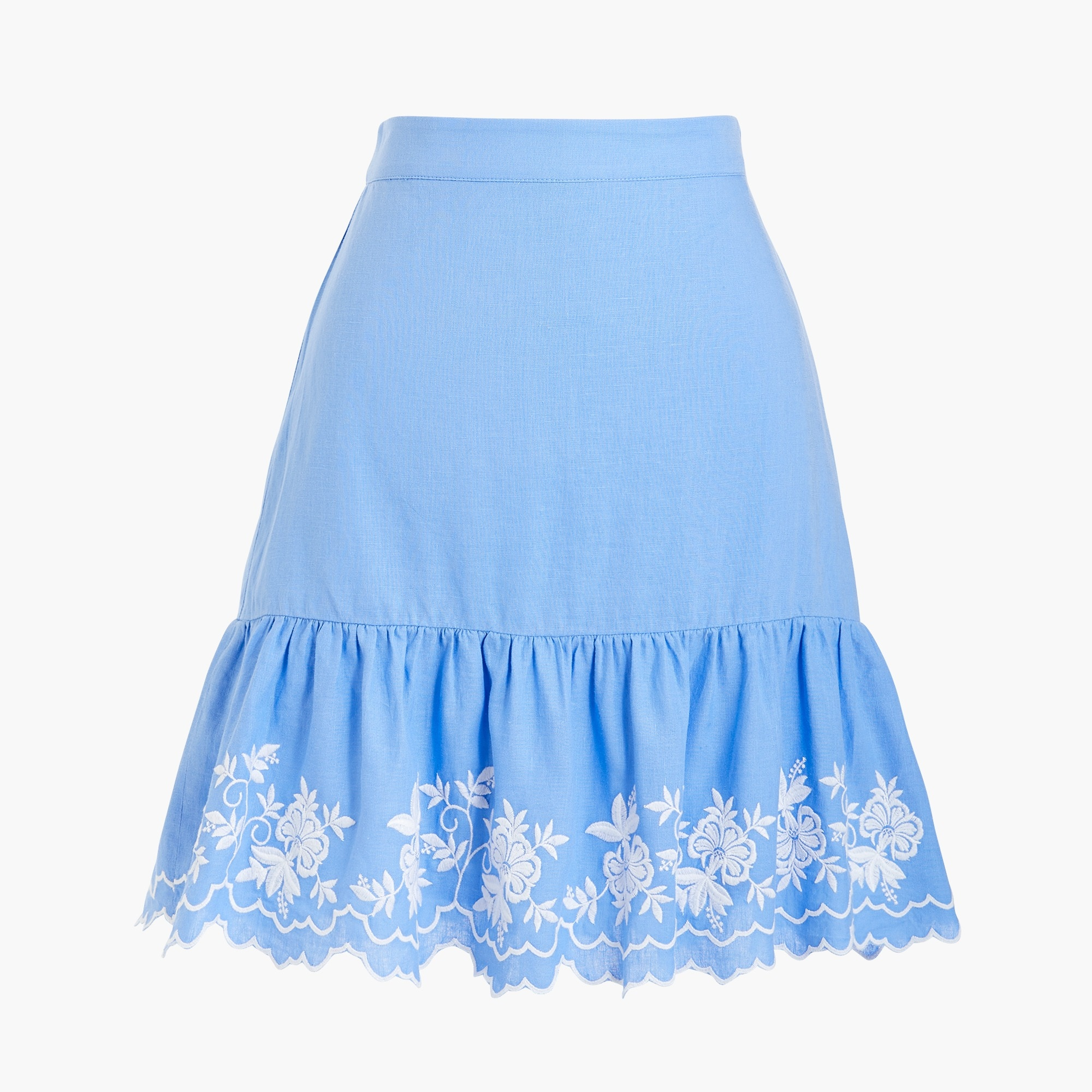 factory womens Embroidered mini skirt in cotton-linen
