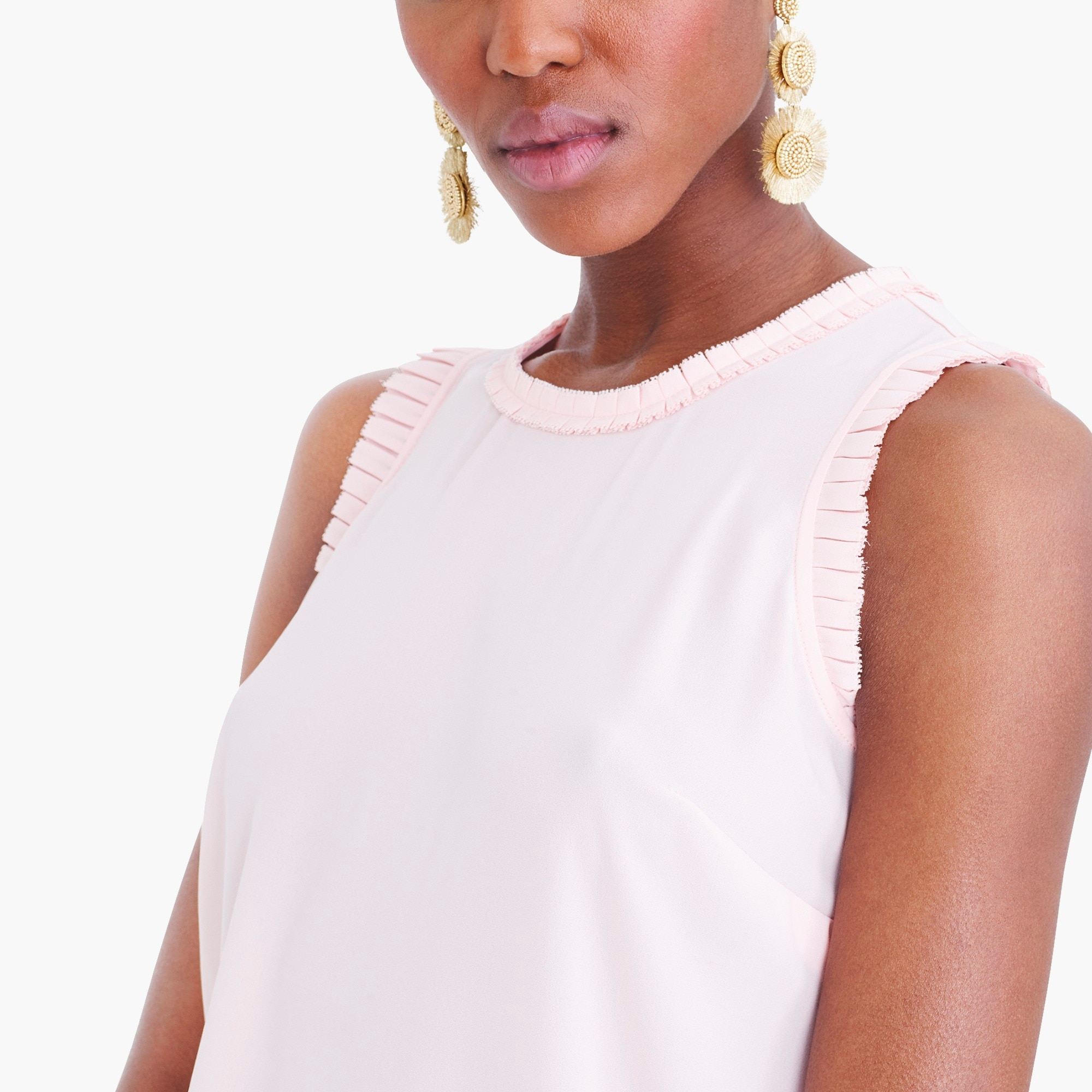 Sleeveless top with pleated trim