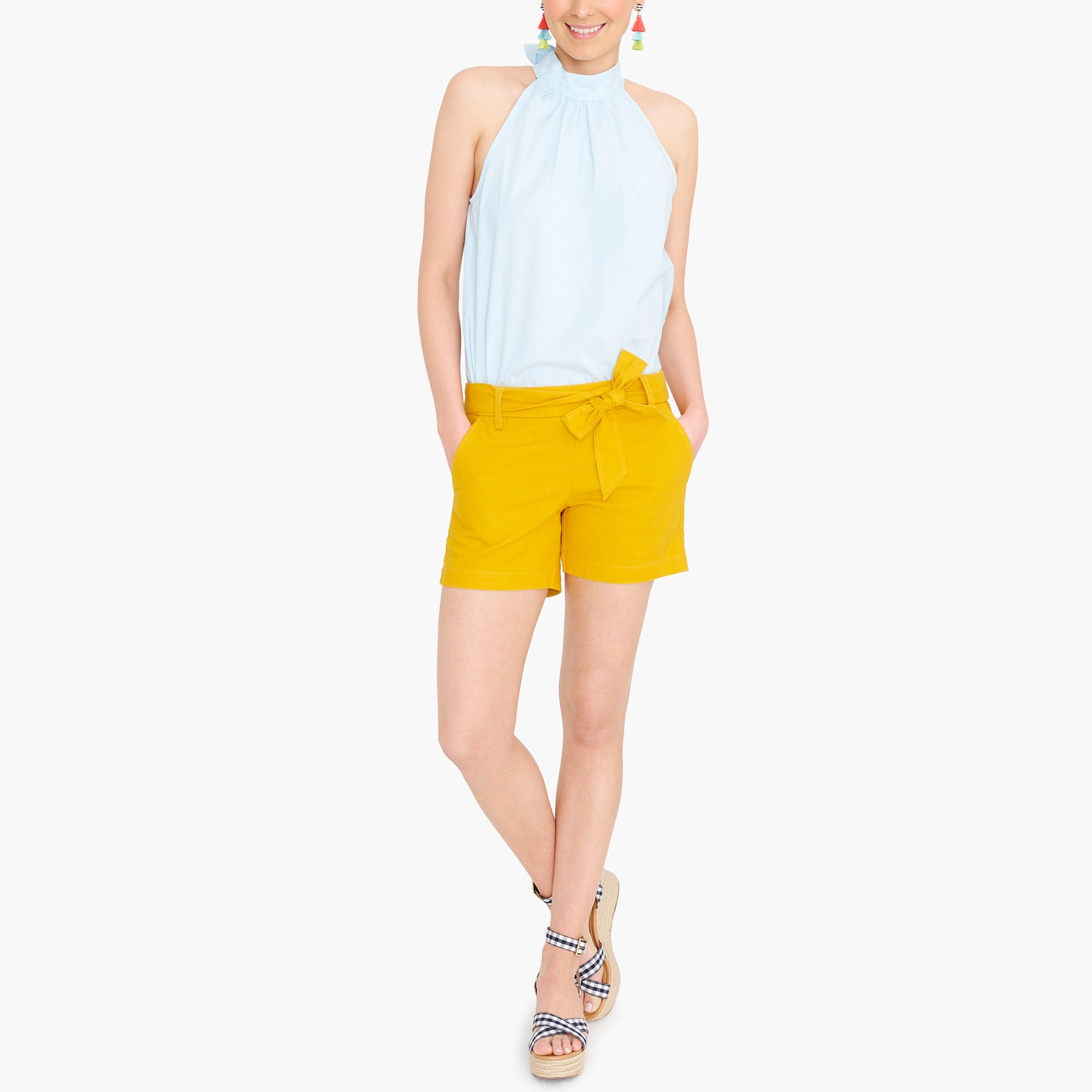 factory womens Sleeveless tie-neck top