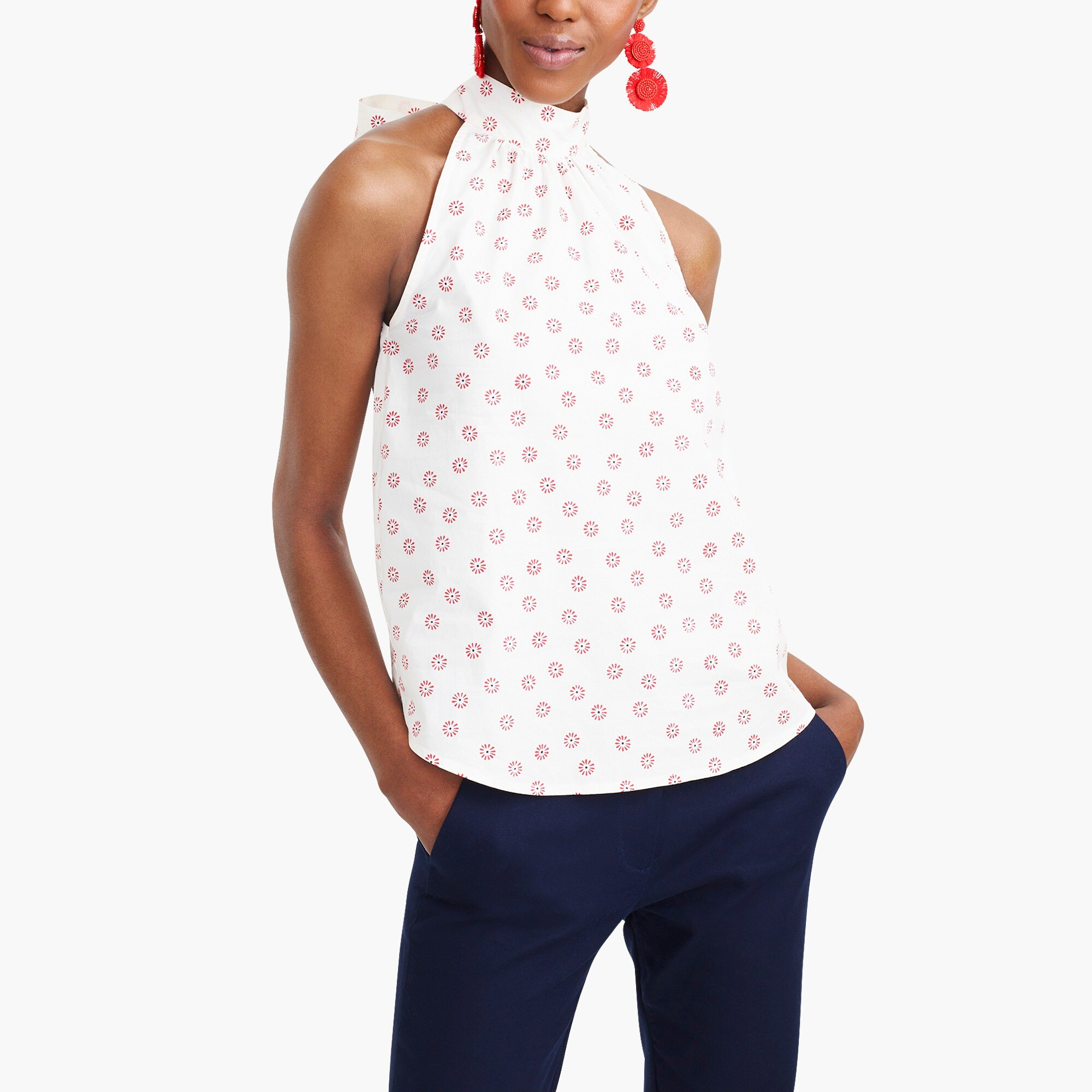 factory womens Printed sleeveless tie-neck top