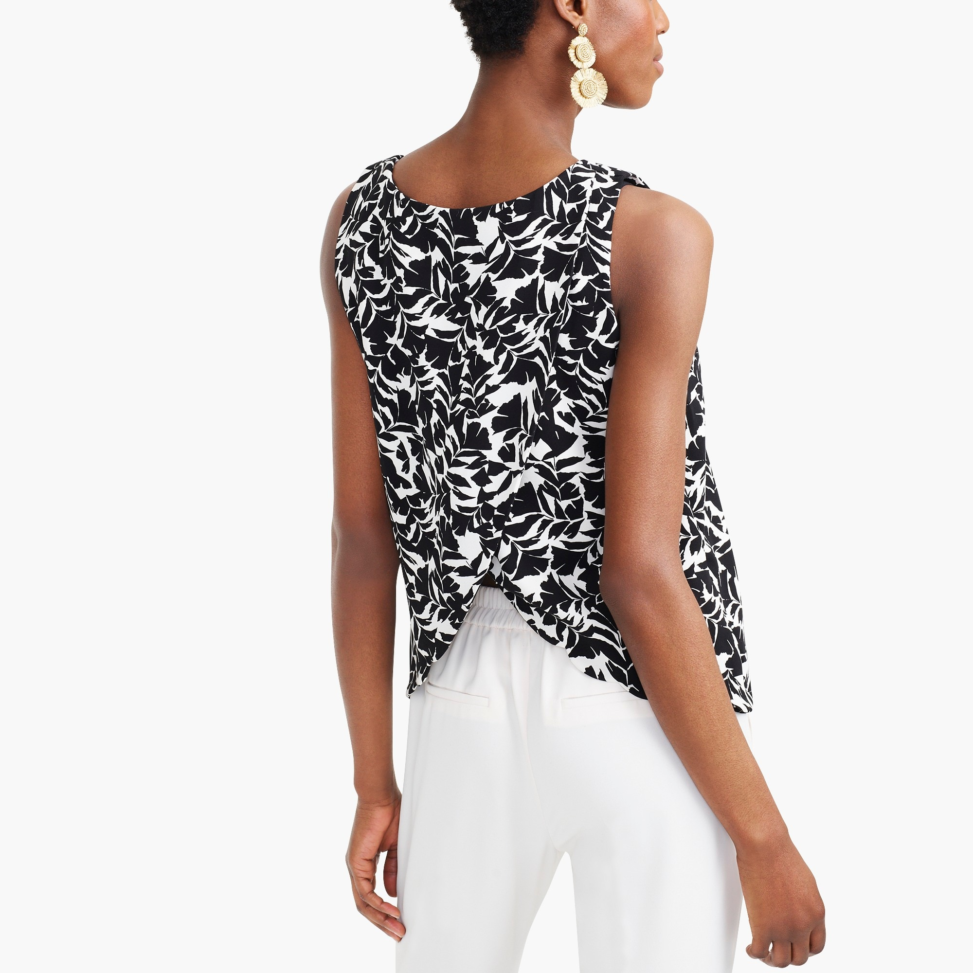 factory womens Printed scalloped-hem top with overlapped back