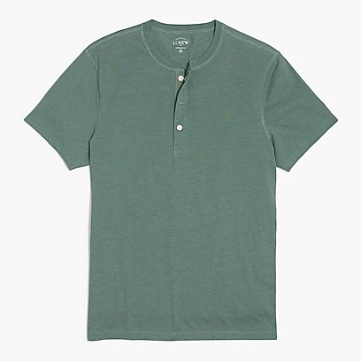 factory mens Short-sleeve heathered henley