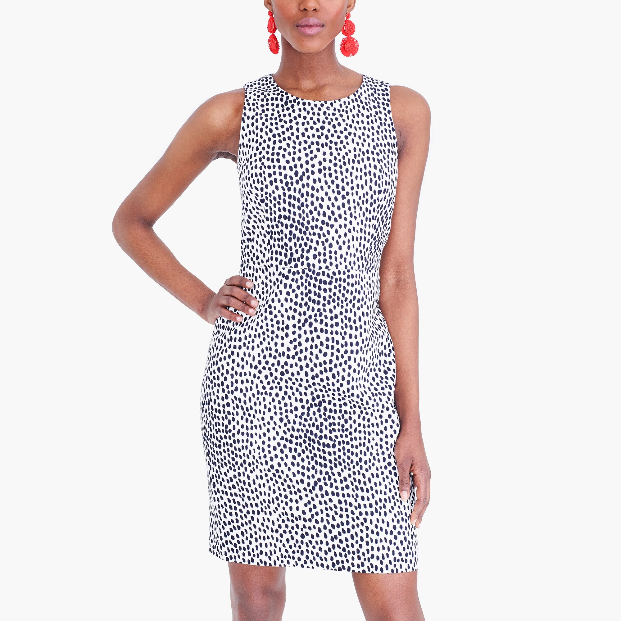 factory womens Basketweave sheath dress in animal print