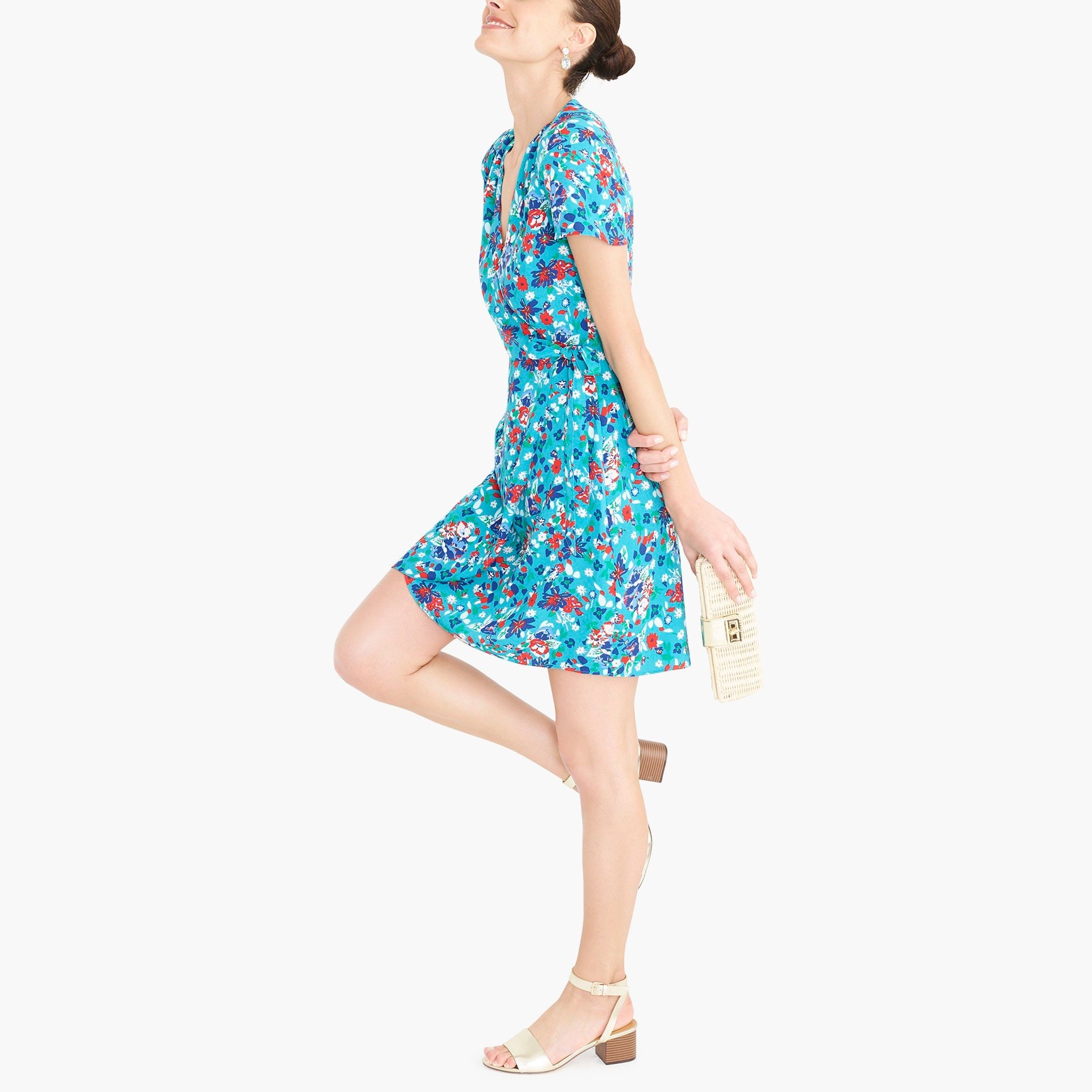 factory womens Printed wrap dress