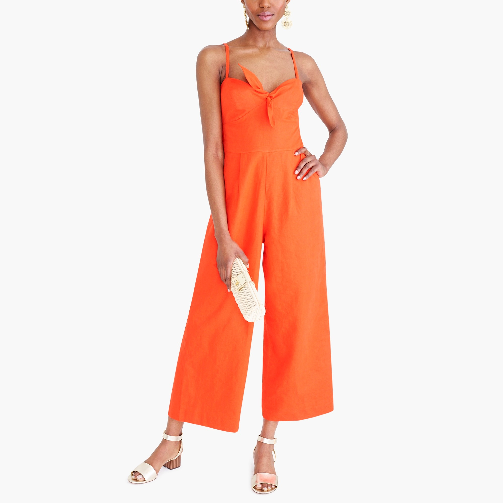 factory womens Tie-front jumpsuit in linen-cotton