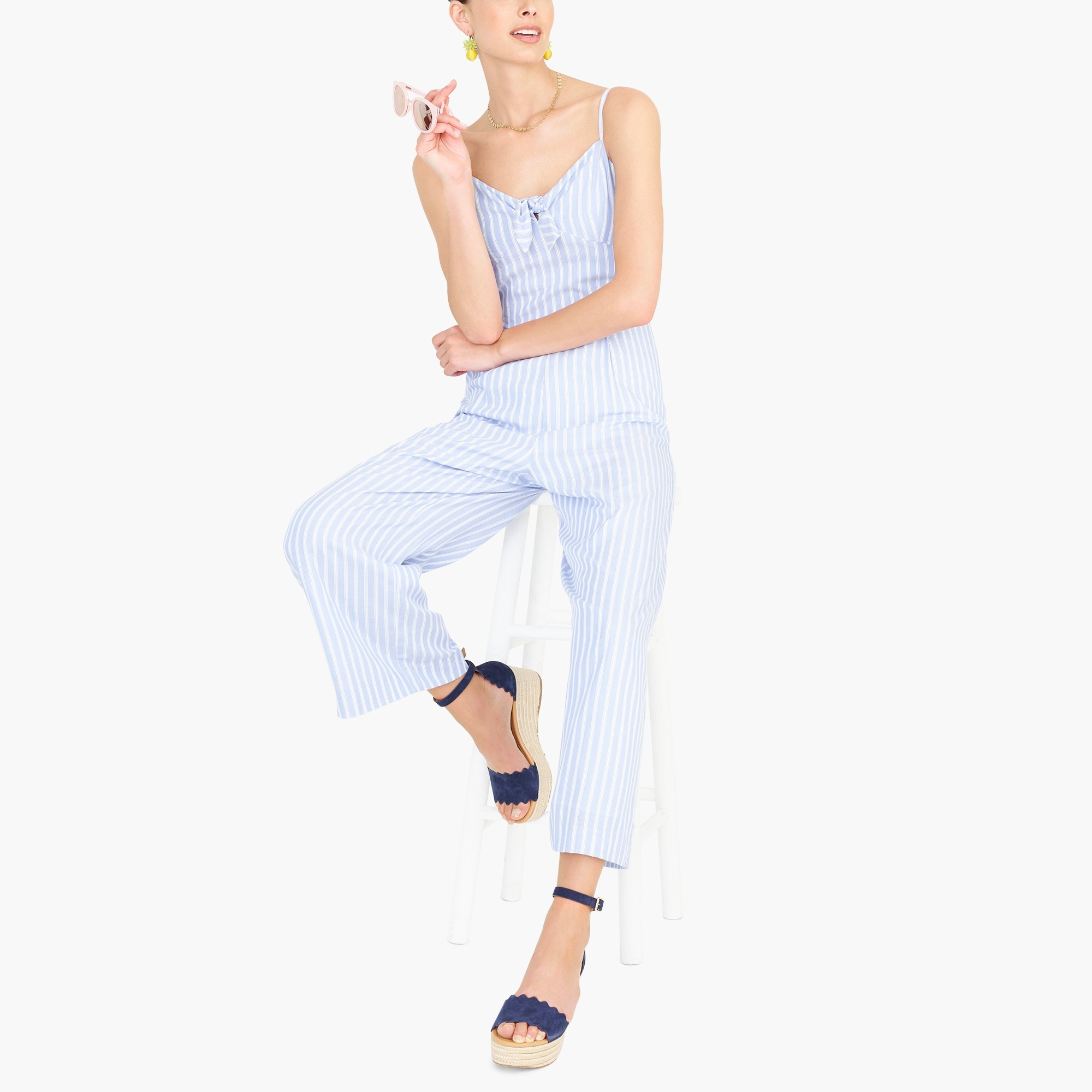 factory womens Tie-front jumpsuit in stripe