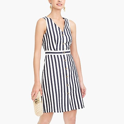 factory womens V-neck button-front dress in stripe