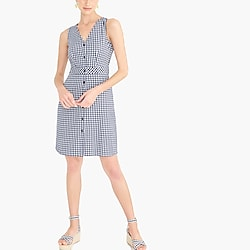 V-neck button-front dress in gingham