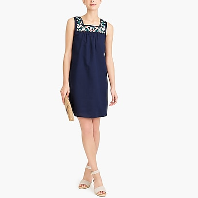 factory womens Embroidered square neck dress