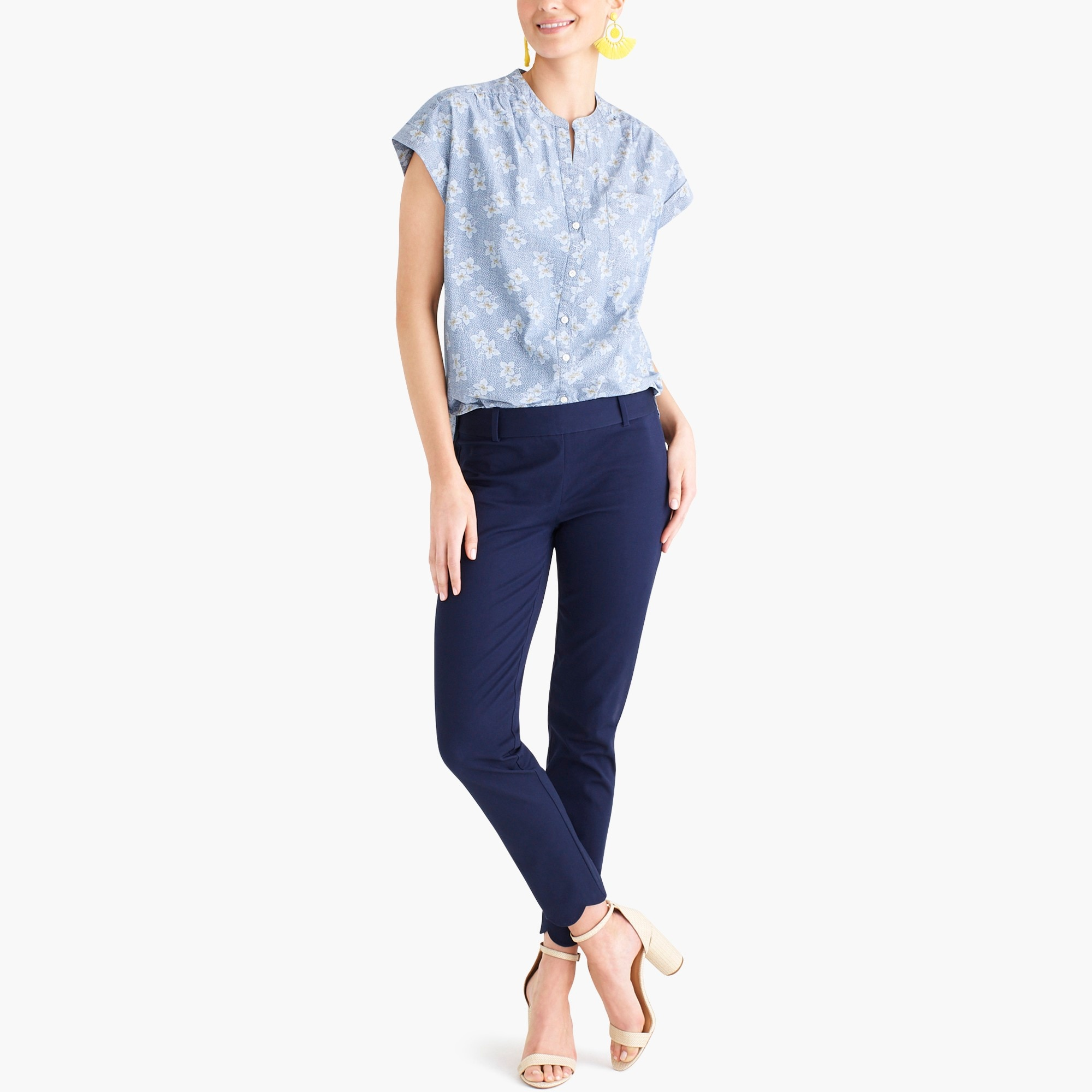 factory womens Floral chambray camp shirt
