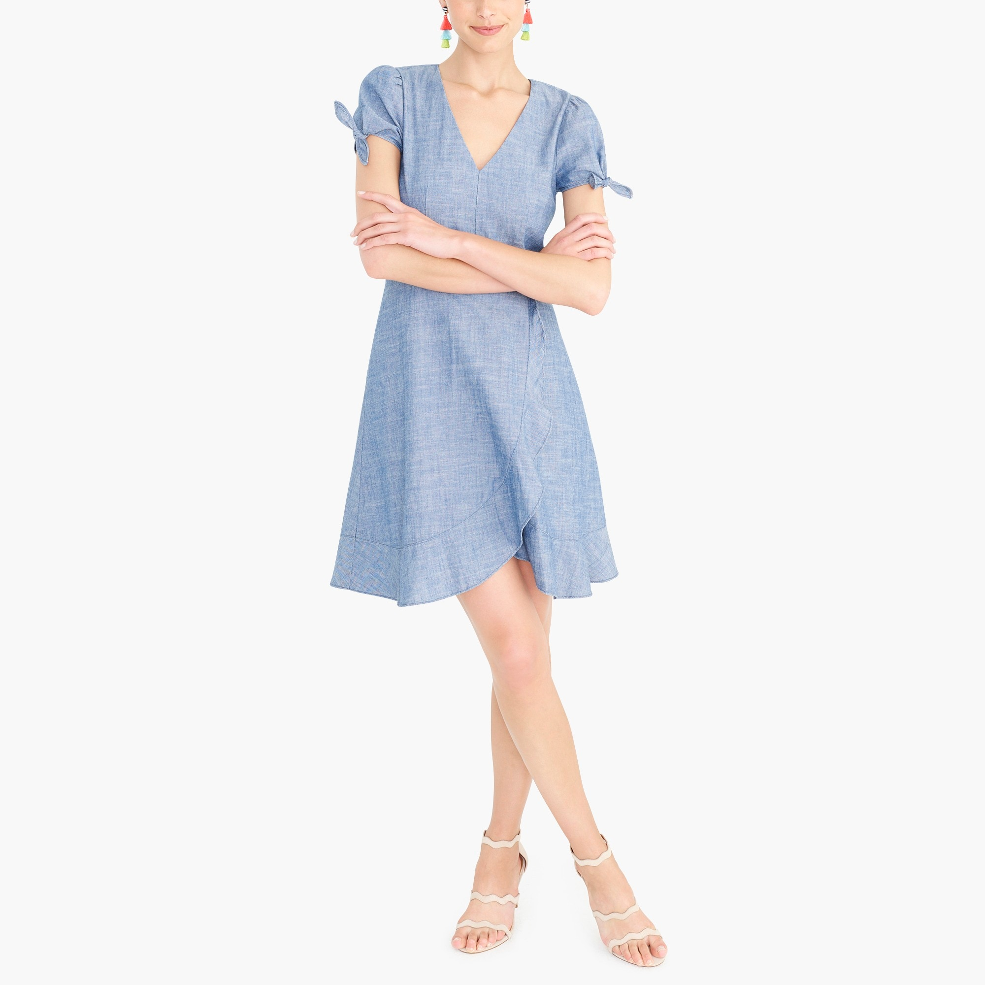 Image 1 for Chambray faux-wrap dress