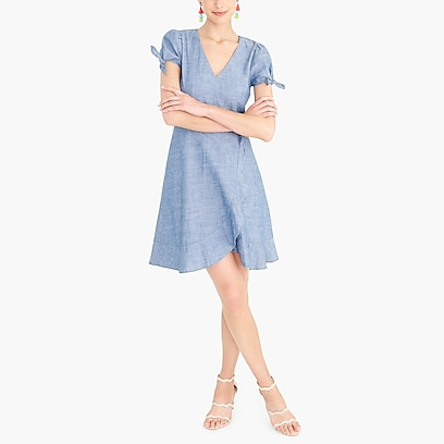 factory womens Chambray faux-wrap dress