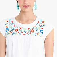Embroidered cap-sleeve top