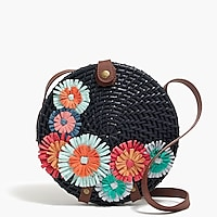 Image 1 for Straw floral circle crossbody bag