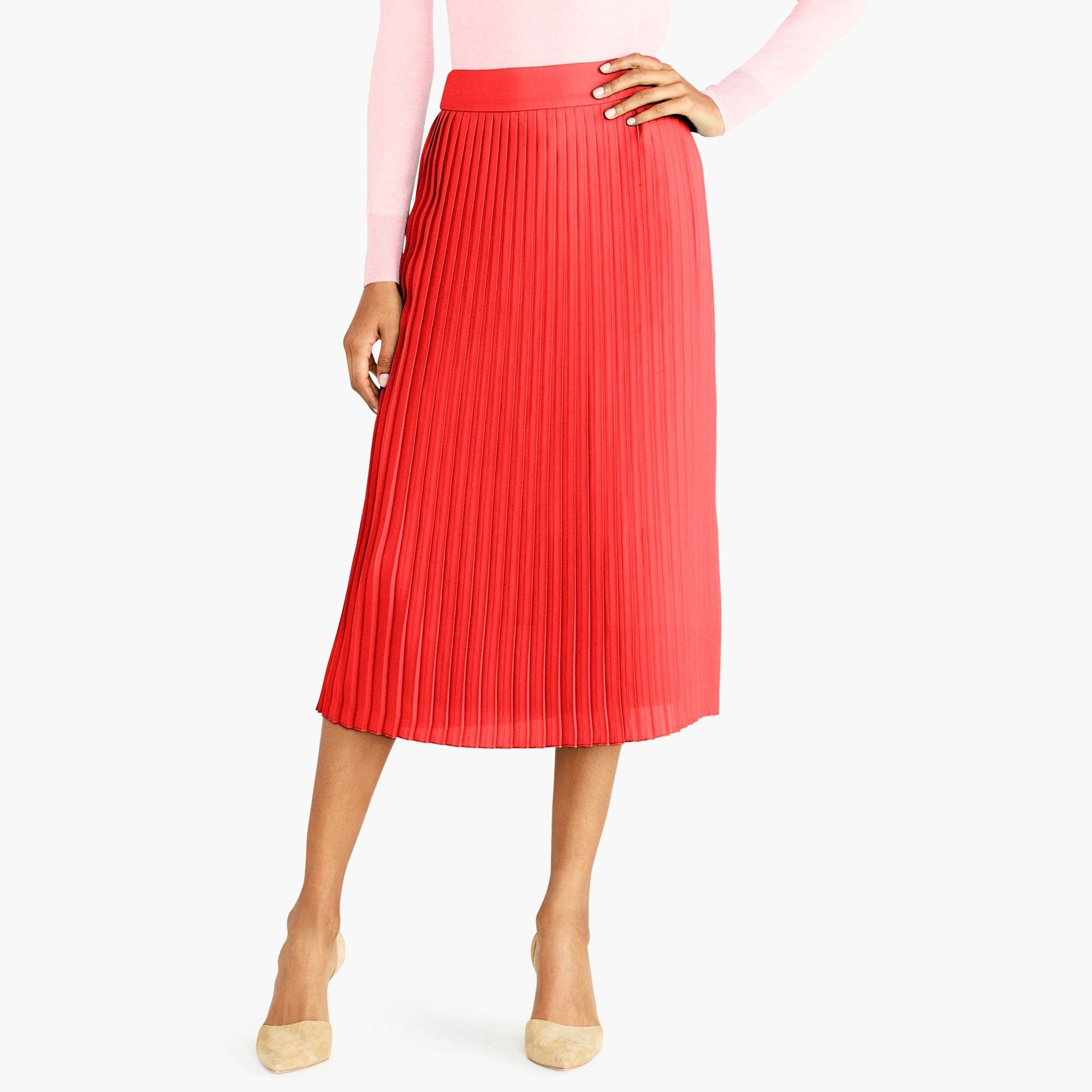 factory womens Pleated midi skirt
