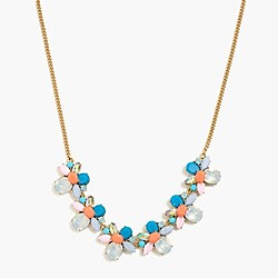 Stone cluster statement necklace