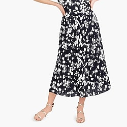 Pleated midi skirt in print
