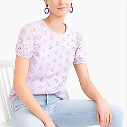 Eyelet top with puff sleeves